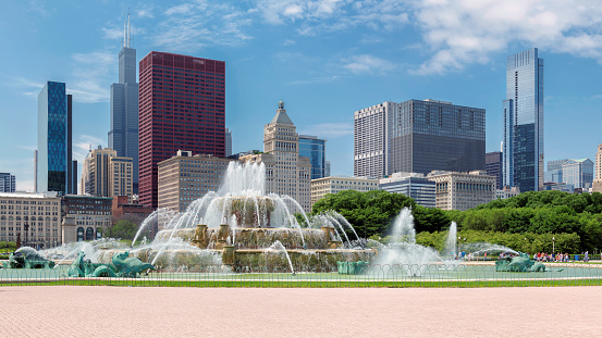 Chicago City skyline with Buckingham fountain