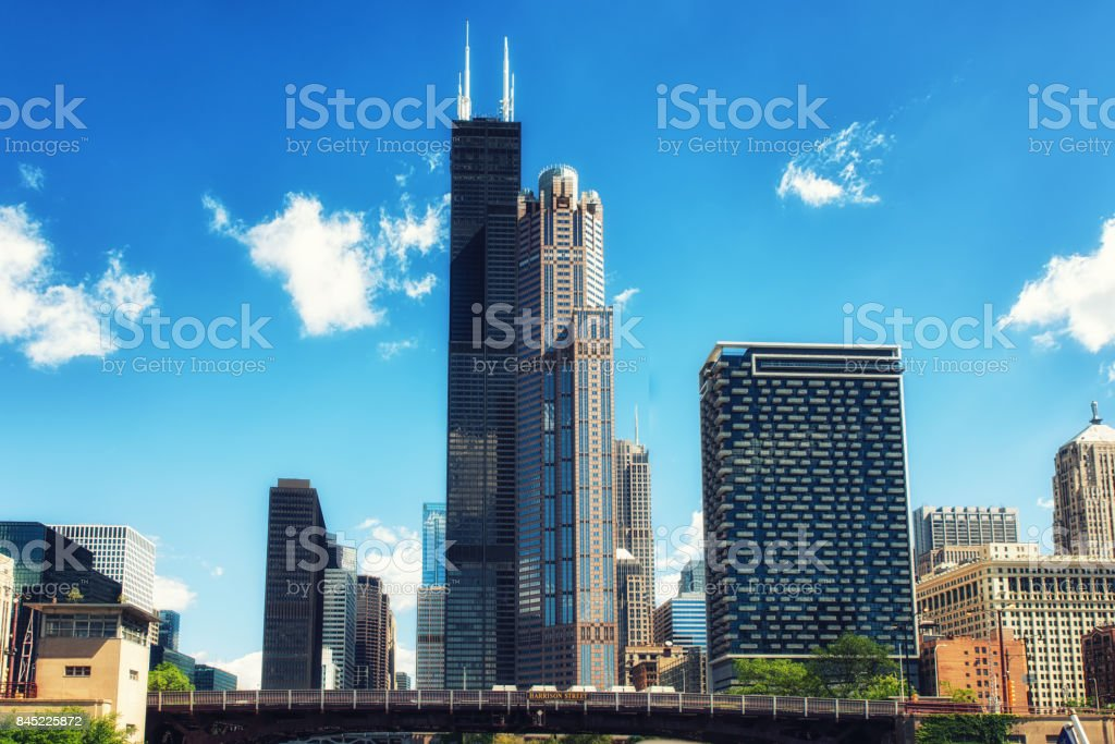 Chicago City skyline with Willis Tower stock photo