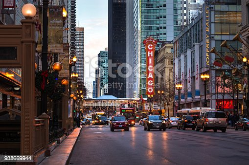 Chicago, Illinois, USA - November 26, 2016 - Christmas decorations adorn the streets of Chicago near the famous Chicago Theater.