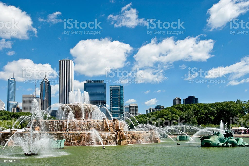 Chicago city with the Buckingham fountain stock photo