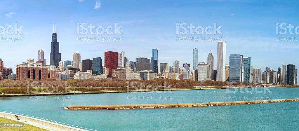 chicago citypanorama of chicago citypanorama of chicago city stock photo