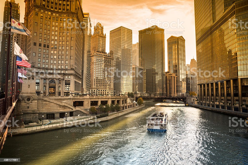 Chicago cityscape and river stock photo