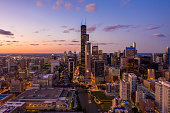 Chicago Cityscape at Blue Hour - Aerial