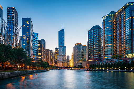 Chicago Cityscape At Dusk Illinois Usa Stock Photo - Download Image Now