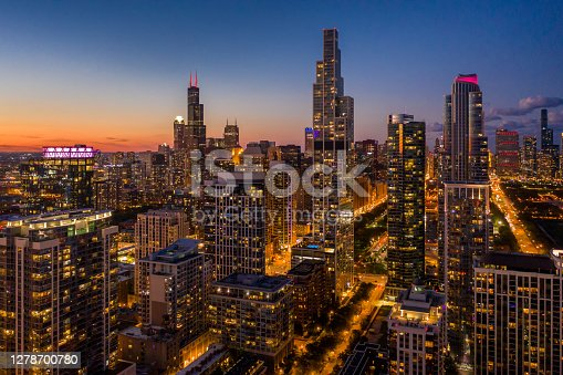 Chicago Cityscape at Dusk From South Loop - Fall 2020
