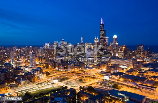 Chicago Cityscape at Night Aerial
