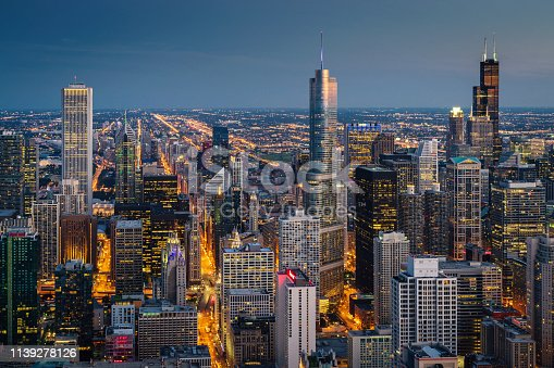Illuminated Chicago Cityscape at Night - Twilight. Chicago, Illinois, USA