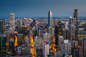 Illuminated Chicago Cityscape at Night - Twilight. Chicago, Illinois, USA