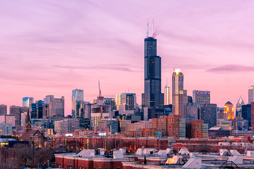Chicago city view at sunset