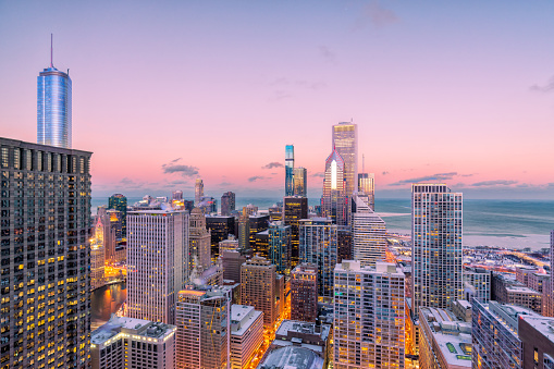 Downtown Chicago Loop - Winter Cityscape