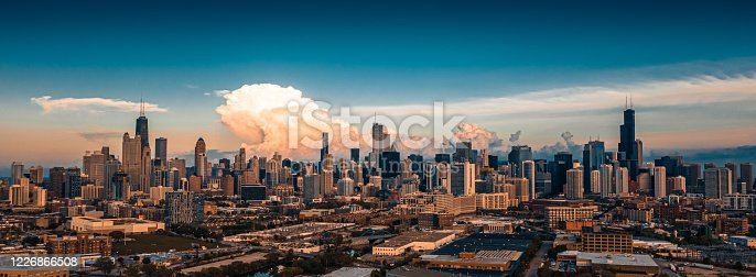 Aerial View of Chicago at Sunset - Spring 2020