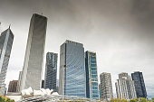 Chicago, United States - October 27, 2016: A view of Chicago skyline and tall buildings in a cloudy day full with fog