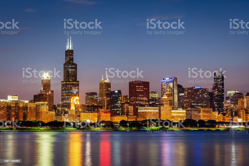 Chicago Cityscape Lake Michigan at Night stock photo