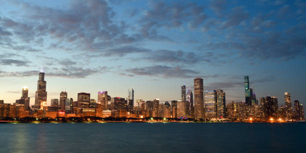 Chicago Cityscape Lake Michigan at Night stock photo