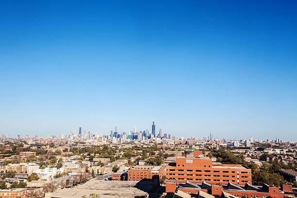 Chicago Cityscape viewed from the West stock photo