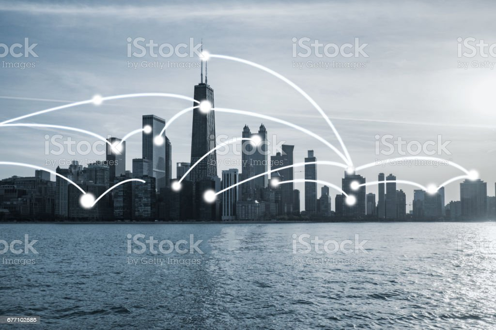 Chicago cityscape with network connection concept stock photo