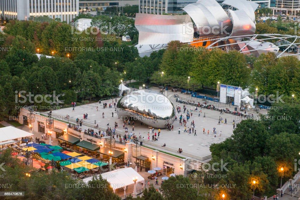 Chicago Cloudgate Millennial Park Illinois Cityscape View stock photo
