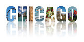 Banner collage of Chicago images, reflected on white