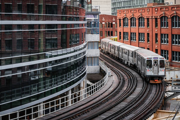 Chicago CTA Elevated Train Downtown Urban Buildings stock photo