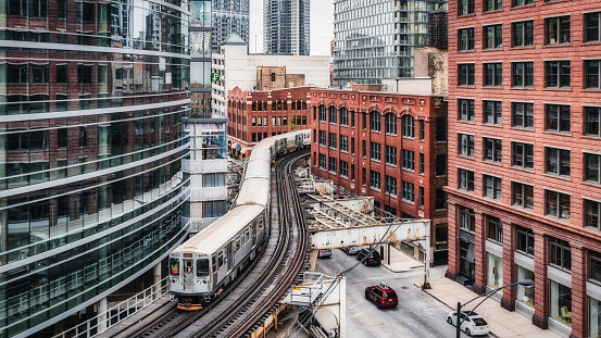 Chicago CTA Elevated Train Panorama Urban Railroad