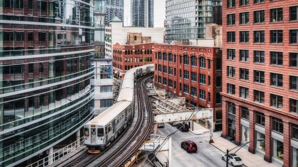 Chicago CTA Elevated Train Panorama Urban Railroad stock photo