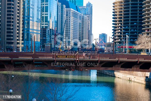 483312814 istock photo Chicago - december 7 2013: bridges over the chicago river, born in lake michigan, panoramic view of modern city, first world architecture. 1176404706