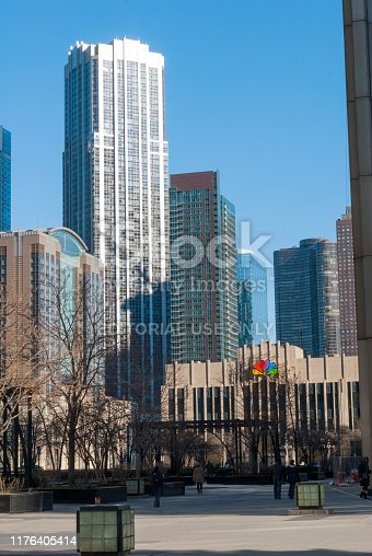 483312814 istock photo Chicago - december 7 2013: bridges over the chicago river, born in lake michigan, panoramic view of modern city, first world architecture. 1176405414