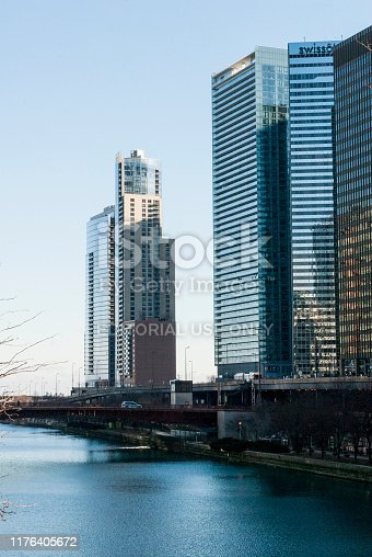 483312814 istock photo Chicago - december 7 2013: bridges over the chicago river, born in lake michigan, panoramic view of modern city, first world architecture. 1176405672