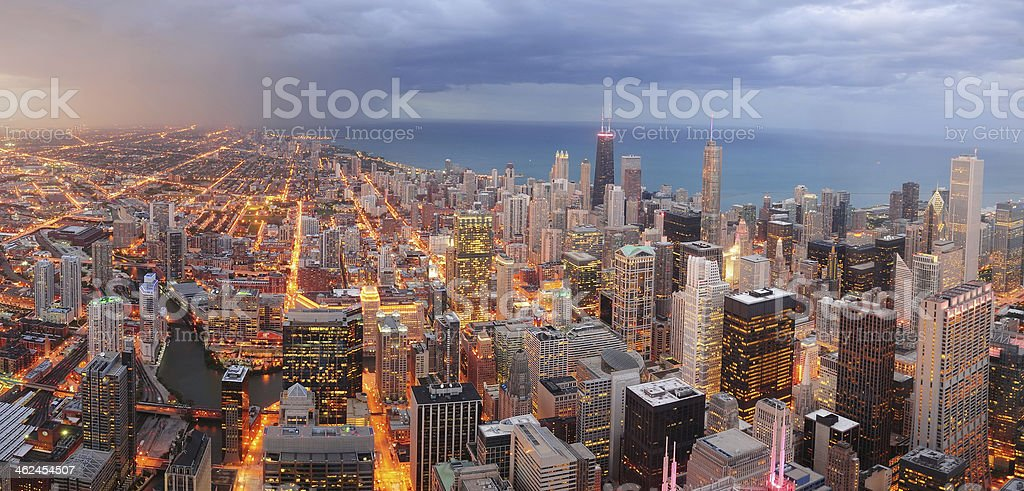 Chicago downtown aerial panorama stock photo