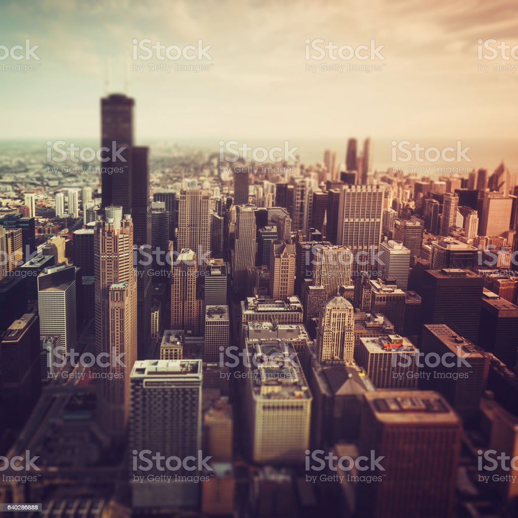 Chicago Downtown- aerial view with Tilt shift effect stock photo