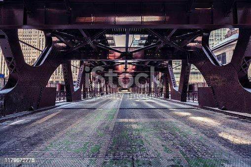 Chicago Downtown Bridge with ice, winter scenery, polar vortex