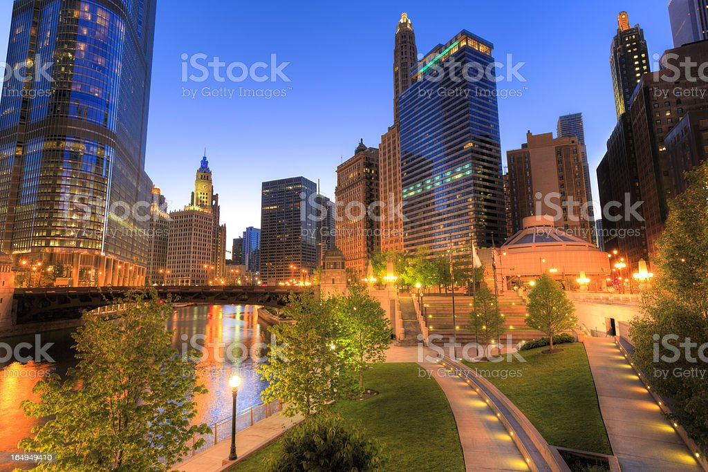 Chicago downtown by night royalty-free stock photo