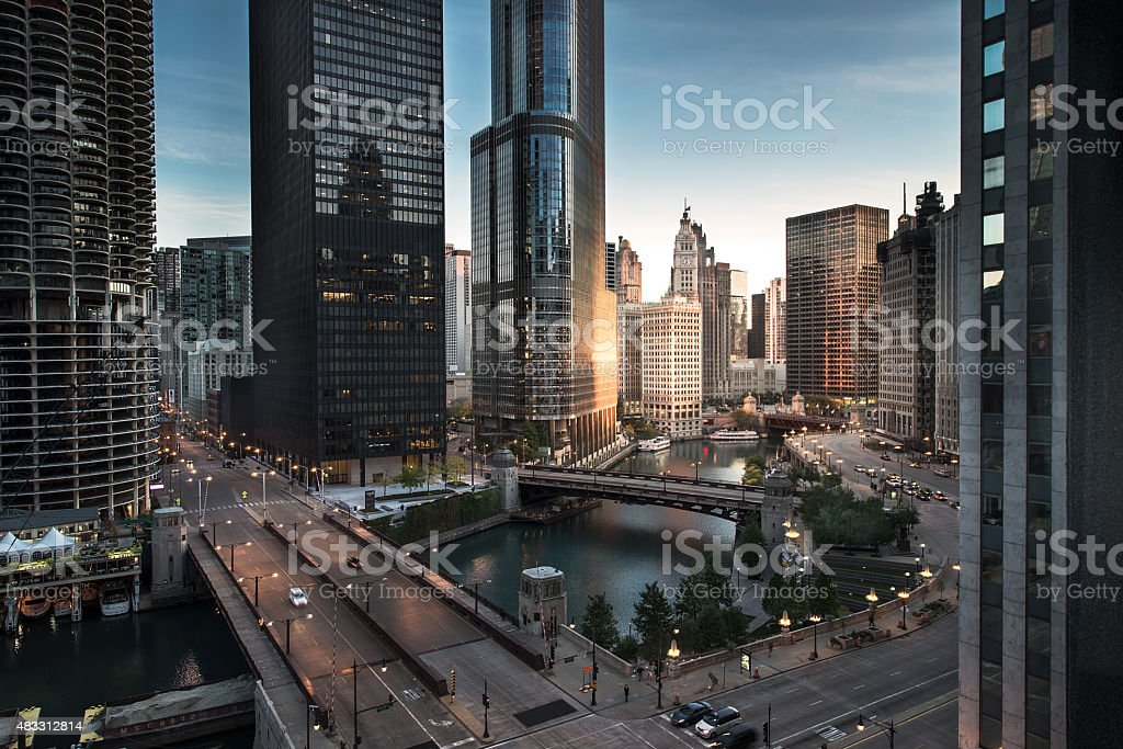Chicago downtown dawn stock photo