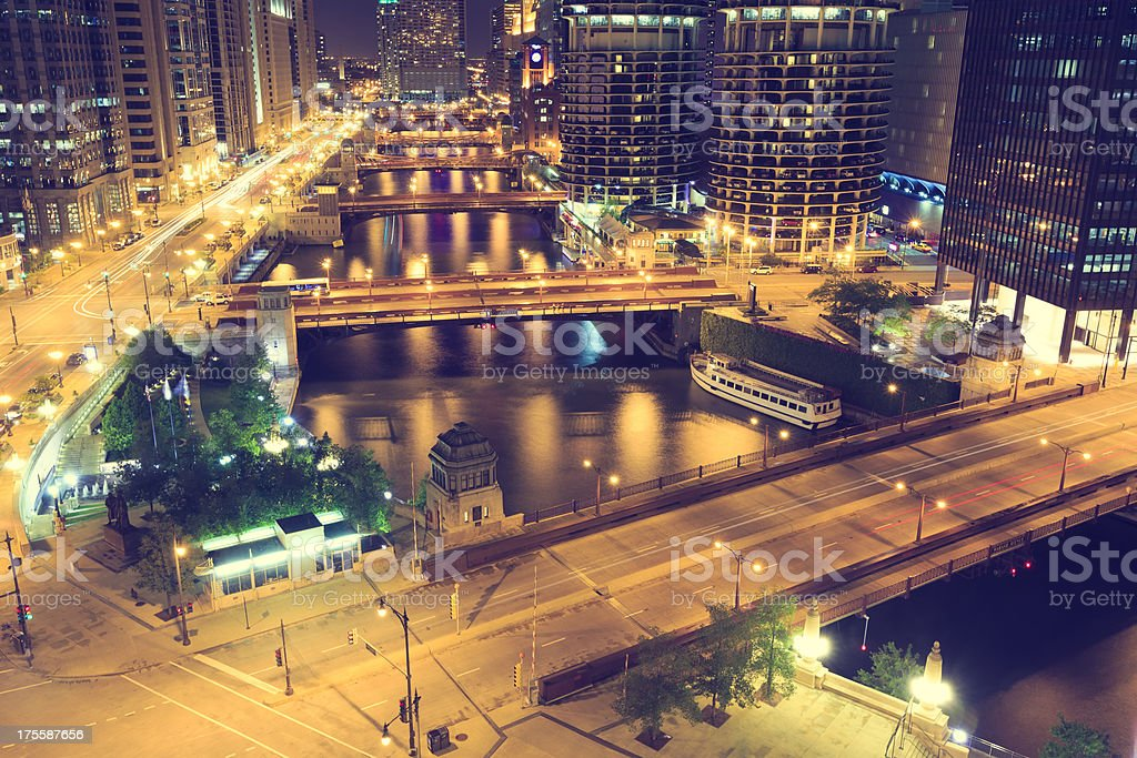Chicago downtown from above by night stock photo