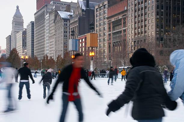 Eislaufen der Innenstadt von Chicago – Foto