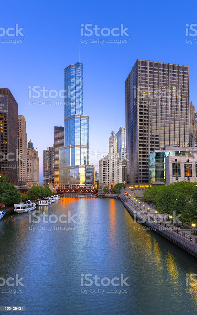 Chicago downtown in morning stock photo