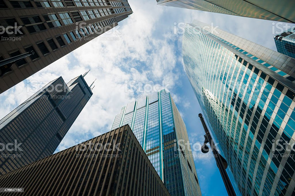 Chicago downtown loop architecture, skyscrapers, wide angle with clouds stock photo