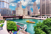 Chicago Downtown and Chicago river in summertime, Illinois, USA.