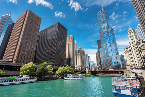 Chicago Downtown skyline at sunny day