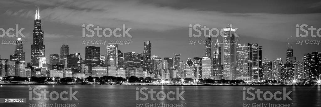 Chicago Downtown Skyline in Black And White stock photo