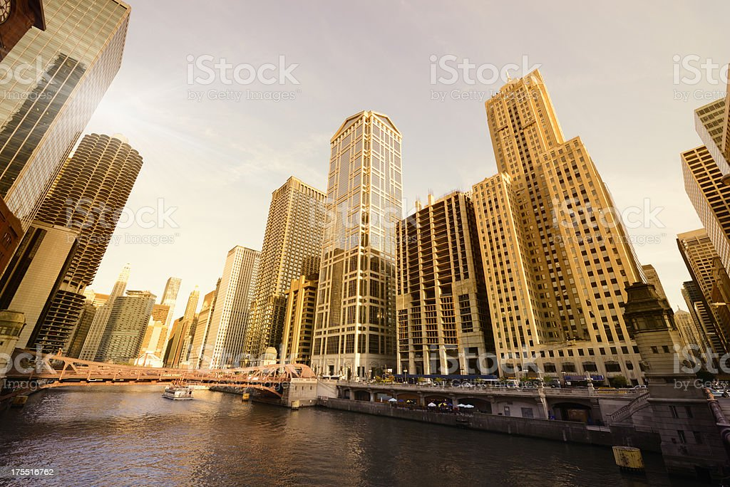 Chicago Downtown Skyline on the River stock photo