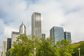 Chicago, United States - October 27, 2016: 2016 Chicago skyline from Millennium park