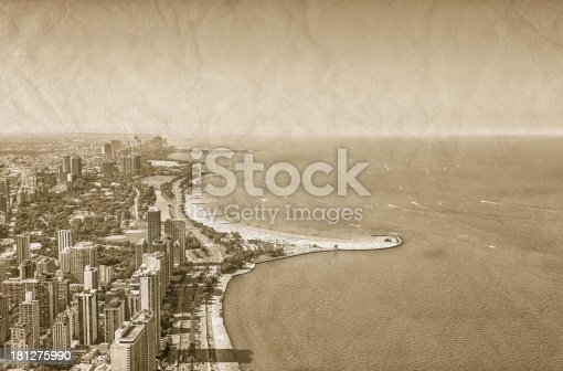 Chicago Downtown vintage aerial view