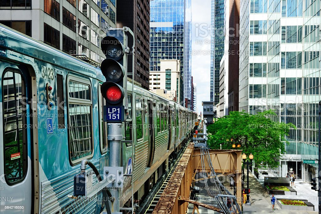 Chicago Elevated Railway Train The Loop Stock Photo & More Pictures