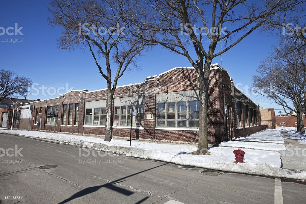 Chicago Factory Buildings in Hermosa, a Northwest Side Neighborhood royalty-free stock photo