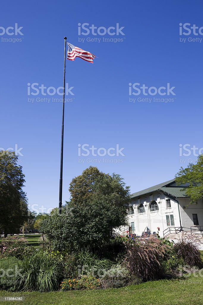 Chicago Field House and Flag royalty-free stock photo