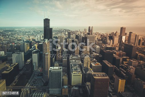istock Chicago financial distict aerial view 501124818