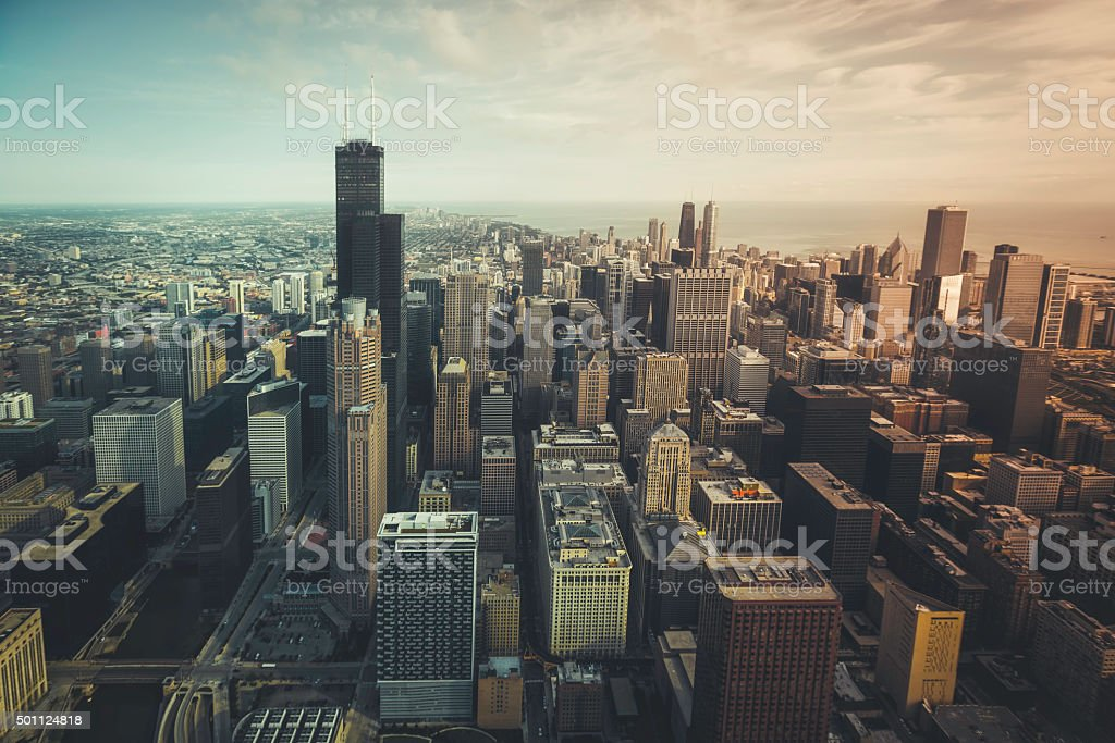 Chicago financial distict aerial view stock photo