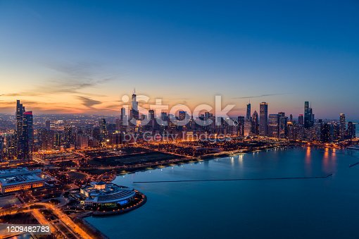 Aerial View Chicago Skyline at Dusk From Lake Michigan