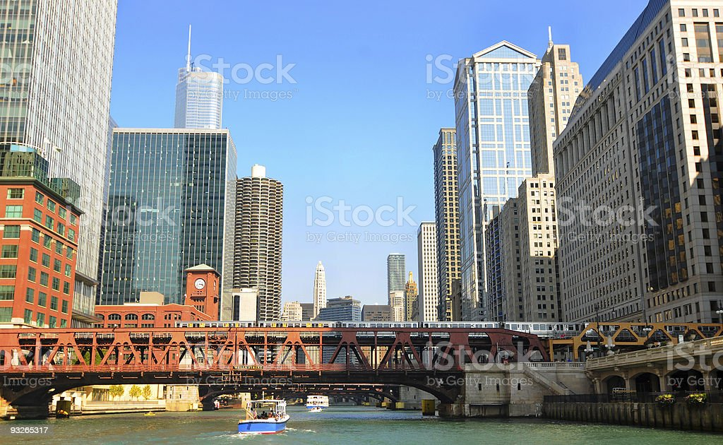 Chicago from the river stock photo